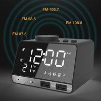 Bluetooth Alarm Clock Speaker with Dual USB Interface Charging Audio Creative Music Clock Display Radio
