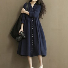 2017 New Arrival Loose Long Sleeve Cotton and Linen Dress Pregnant women High Quality large Size Solid Color Casual Dresse