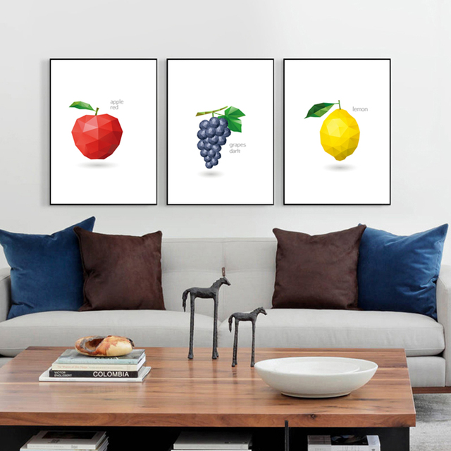 Simple Polygon Mosaic Fruits Painting Canvas Art Print Poster Wall Picture For Kitchen Dining Room Decor