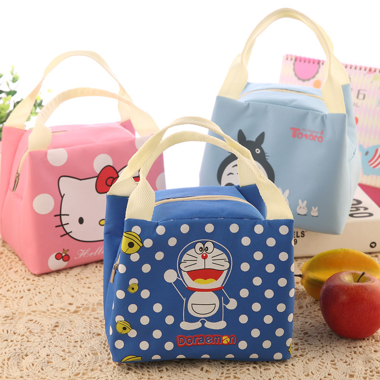 Korean Portable Insulated Canvas Lunch Bag Sprout Lunch Kids Cold Packs Picnic Lunch Boxes Totes