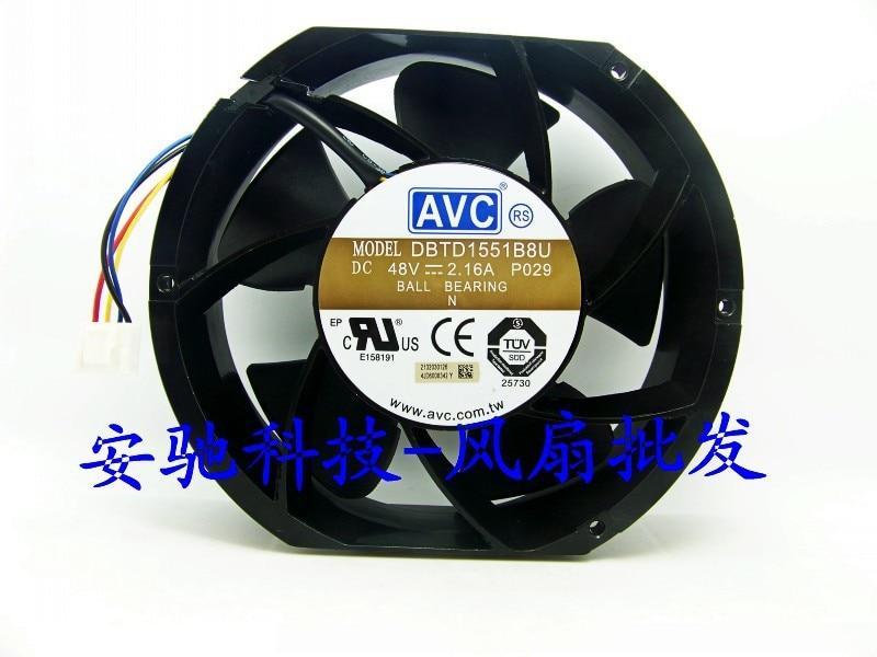 Original AVC DBTD1551B8U P029 DC48V 2.16A four lines Industrial Cooling fan avc db09225b48u dc48v 0 26afour line static impeller fan cooling fan