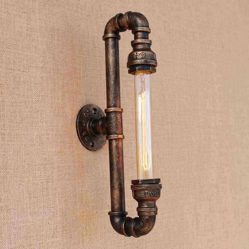 Steam punk iron Water pipe vintage loft wall lamp with edison/led bulb lights for hallway/bedroom/living room/bathroom/bar/cafe robot steam punk style loft luminaire iron water pipe retro wall lamp e27 led sconce wall lights for living room bathroom bar