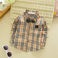 2016 Korean version of the new boys plaid shirt infant baby 0-3 years old plaid long sleeve shirt