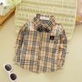 2016 Korean version of the new boys plaid shirt infant baby 0-3 years old plaid long sleeve shirt