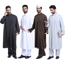 Plus Size 2019 Long 2 Piece Set Saudi Arabia Abaya Dubai Pakistan Kaftan Men Muslim Arabic Robe & Pants Turkish Islamic Clothing