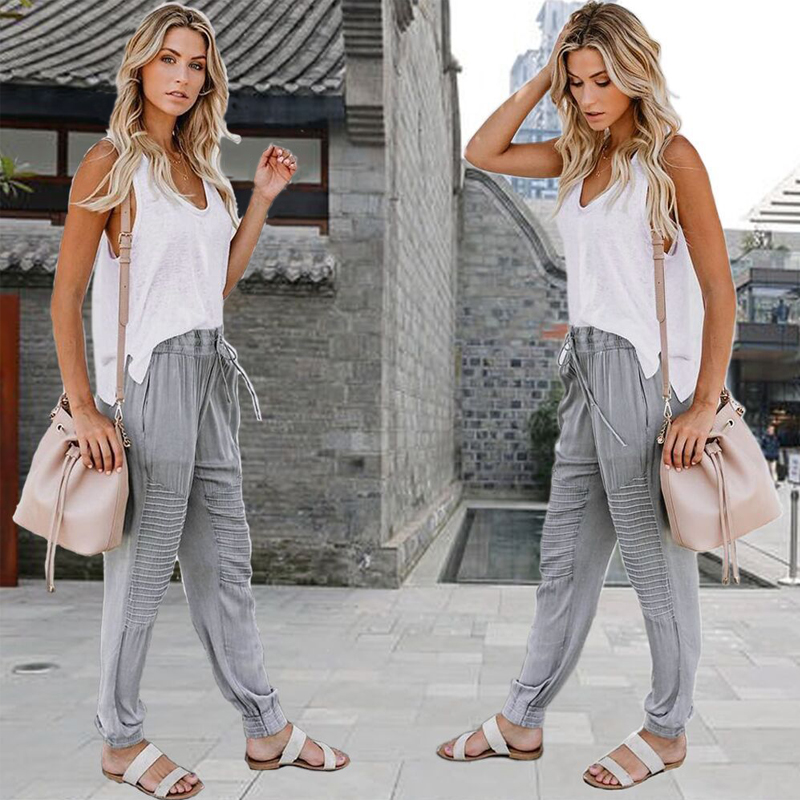 2019 Spring Summer Women Harem Pants Chiffon Loose Trousers Elastic Drawstring Pant