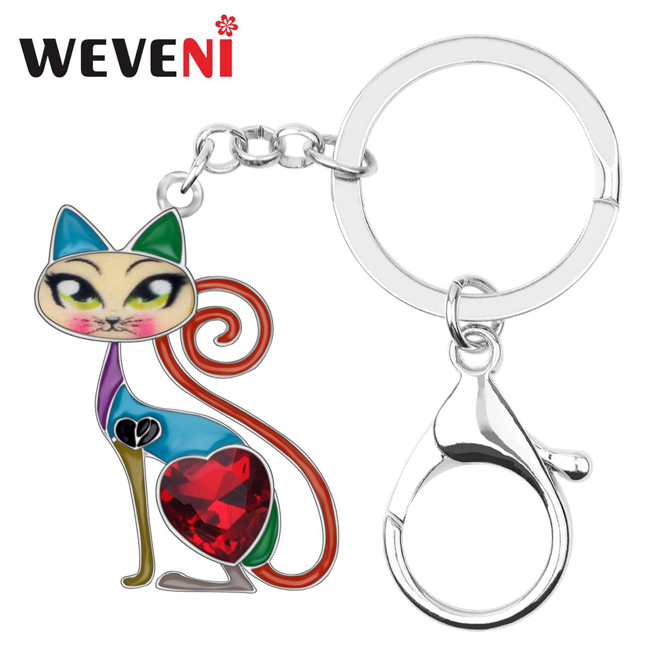 Alloy Enamel Cat Kitten Key Chain Key Ring Women Girls Handbag Charm