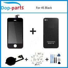 Negro de la Pantalla Táctil + LCD Display + Digitalizador de Cristal Trasera de la Cubierta cover + pieza de recambio para el iphone 4s botón de inicio y herramientas de tornillo