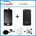 Preto Toque Digitador Da Tela + Display LCD + Vidro Voltar Habitação capa + home button peça de reposição para o iphone 4s & ferramentas de parafuso
