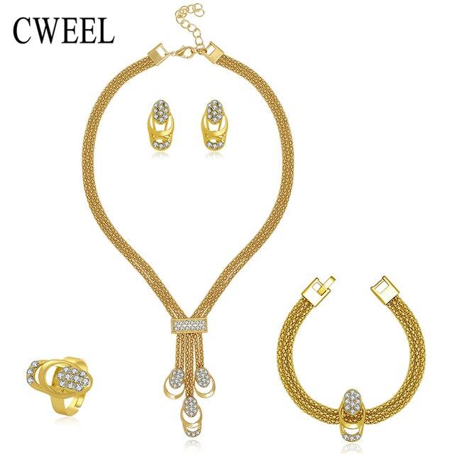 La Joyería De Las Mujeres Collar de Perlas Chapado En Oro Collar Pendientes Pulsera Fina Anillos