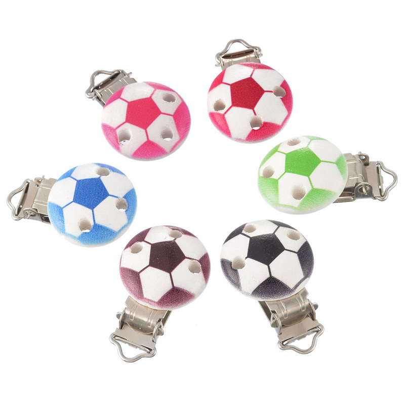 5PCS Wooden Baby Infant Football Pacifier Soother Chain Holder Clips With Metal Holders Kids Feeding 4.4cm X 2.9cm