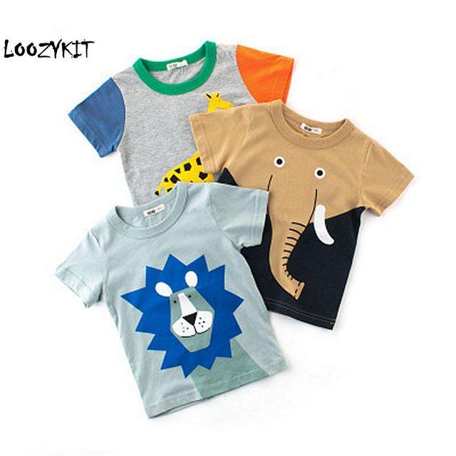 dea3c9b6d Loozykit Cartoon Print Baby Boys Dinosaur T Shirt For Summer Infant Kids  Boys Girls Lion T
