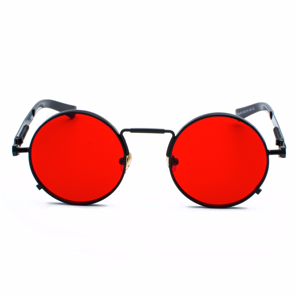 Peekaboo clear red sunglasses men steampunk 2019 metal frame retro vintage round sun glasses for women black uv400 1