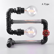 DIY Style Simple Modern Water pipe Industrial Vintage Style Black Table Lamp light Edison bulb Table Light Metal