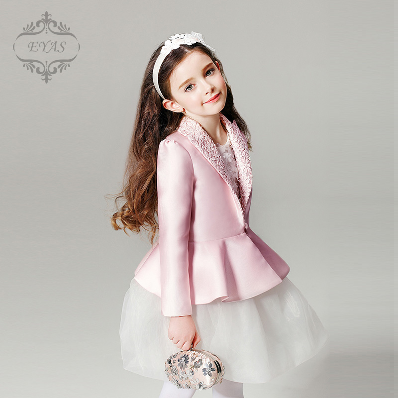 2016 Eyas Girl Coat Spring and Autumn Lace Medium Long Outerwear Princess Wind Coat Child Suit Top Jacket W5417 free shipping 2016 kid girl fashion solid color wind coat outerwear child girl cappa dress jacket spring autumn winter girl coat