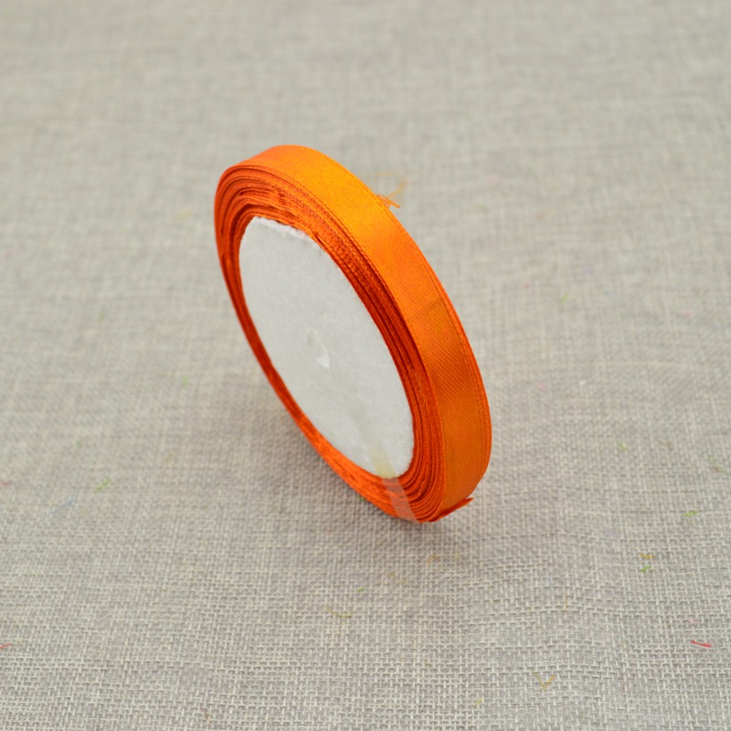 10 мм, 25 ярдов, шелковая атласная лента для свадебного автомобиля, ручная работа, Подарочная коробка для конфет, материалы для украшения, рождественские ленты - Цвет: Orange