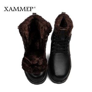 Image 4 - Echtes Leder Männer Schuhe Winter Stiefel Männer Marke Wohnungen Winter Schuhe Casual Schuhe Warme Plüsch Plus Große Größe Hohe Qualität xammep