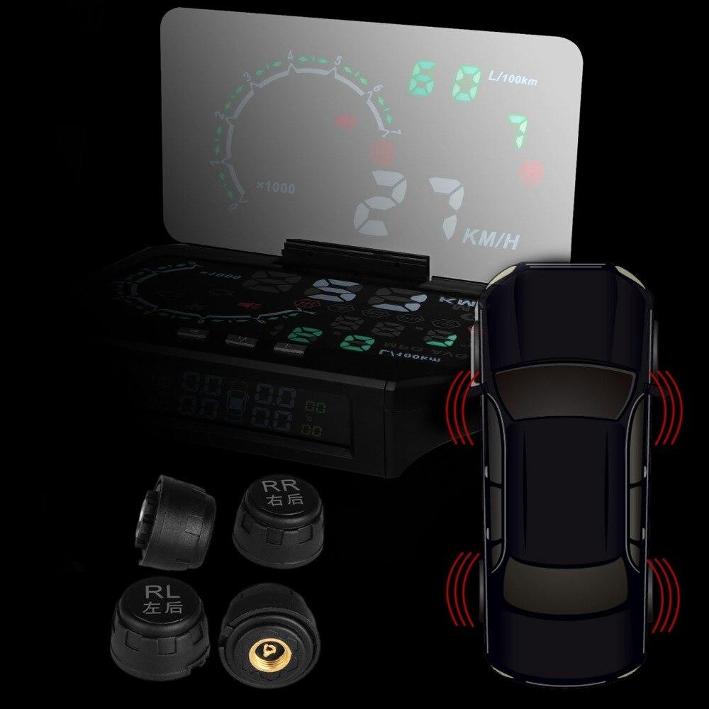 Voiture OBD II 5.8 pouces LCD haute définition de surveillance de pression des pneus TPMS HUD moniteur système d'affichage tête haute carburant, moteur