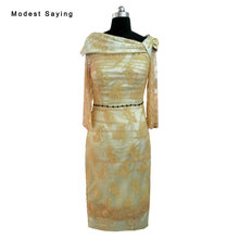 Real Elegant Gold Sheath Beaded Long Sleeves Mother of the Bride Lace Dresses 2017 Formal Women Tea-Length Party Prom Gowns LE10