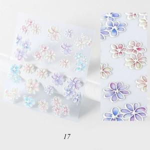 Image 5 - 3D Acrílico Gravado Empaistic flor Etiqueta Do Prego Leopardo Em Relevo flor Folhas Decalques de Água Prego Decalques Escorrega Z0109