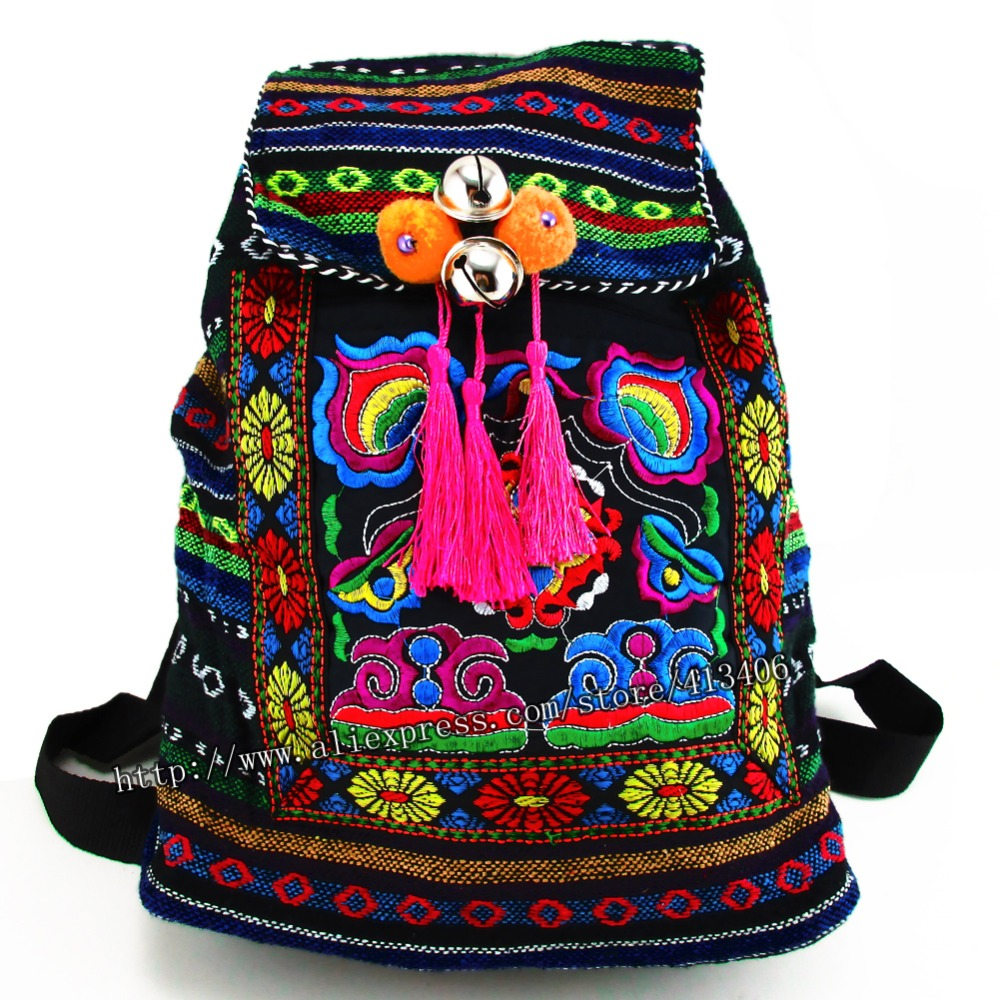 Tribal Vintage Hmong Thai Indian Ethnic Embroidery Bohemian Boho rucksack Boho hippie ethnic bag, backpack bag L size SYS-170R vintage hmong boho tribal ethnic thai indian boho embroidery hand bag messenger purse bag hobo tote bag pom bead trim sys 1016