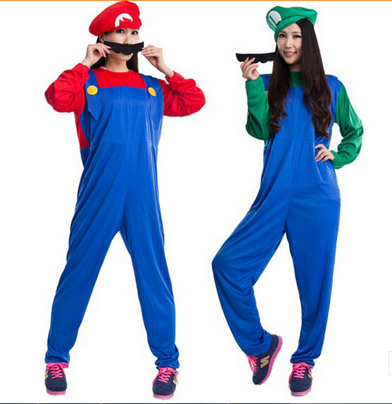 funy cosplay costume super mario luigi brothers plumber fancy dress up party costume for halloween costumes for men and women in mens costumes from novelty - Girl Mario And Luigi Halloween Costumes
