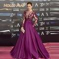 2016 por encargo de manga larga una línea púrpura Celebrity Prom vestidos con bordado con cuentas