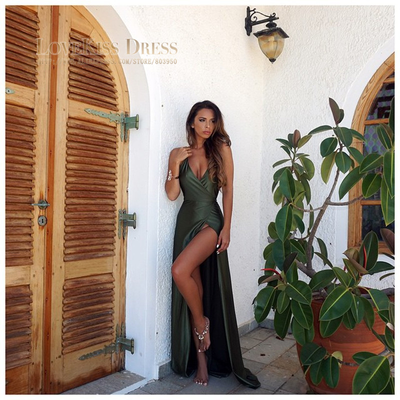 Aliexpress.com : Buy New Style Olive Green Sexy Prom Dress Halter ...