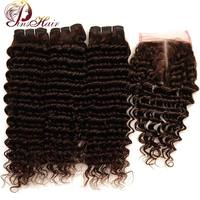 Light Brown Color 4 Peruvian Deep Wave Human Hair 3 Bundles With Closure Pinshair Non Remy