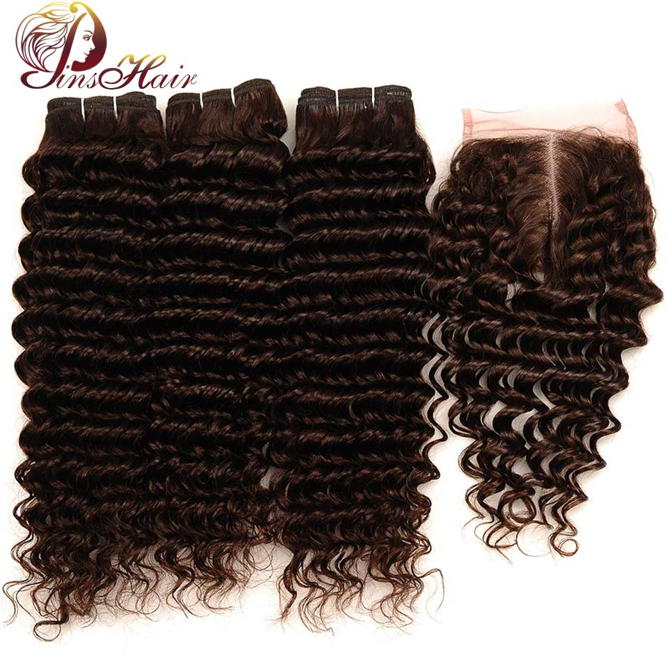 Light Brown Color #4 Peruvian Deep Wave Human Hair 3 Bundles With Closure Pinshair Non Remy Thick Bundles With Closure No Shed