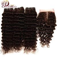 Light Brown Color 4 Peruvian Deep Wave Human Hair 3 Bundles With Closure Pinshair Non Remy