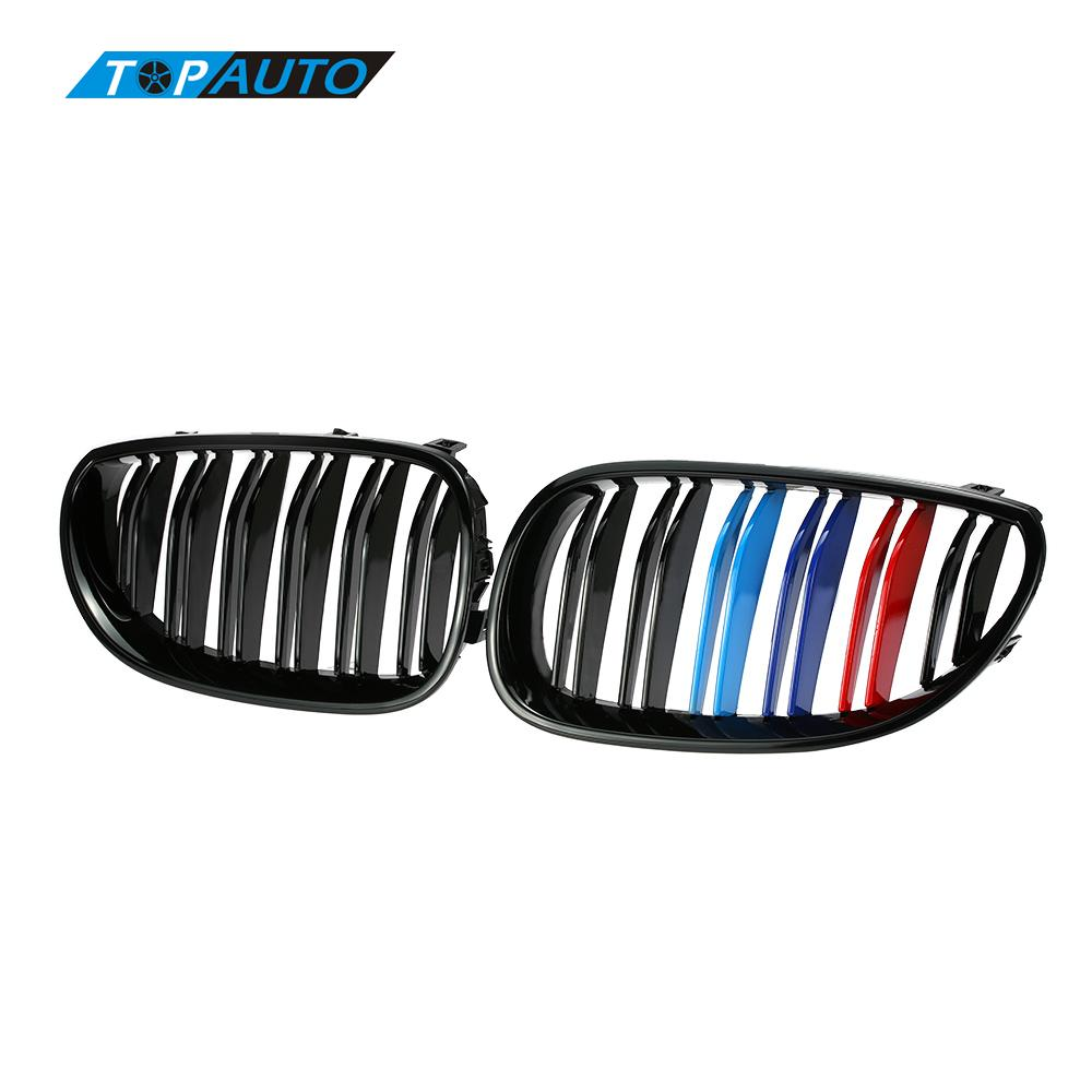 for BMW E60 E61 520d 520i 523li 525li 530l One Pair Front Center Kidney Grilles Gloss Black Mixed Color Grill 2004 - 2009