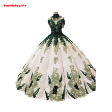 2550 Ball Gown Wedding Dress Applique Green Flowers Fabric