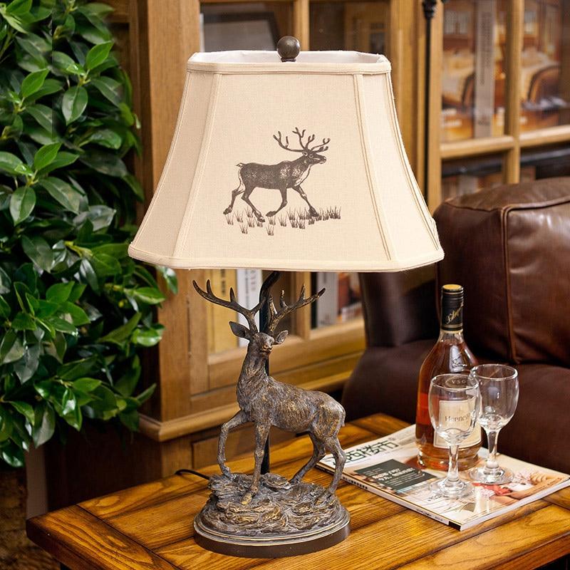 Table Lamp 90-220V Fashion Vintage Deer Resin Table Lamps For Bedroom Living Room Luxury Bedside Lighting Abajur Para Quarto