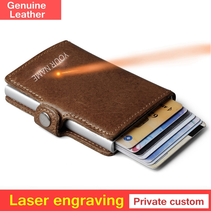 Private Customize Genuine Leather Men Aluminum Wallet Pocket Card Holder RFID Blocking Mini Automatic Credit Card Purse Gift