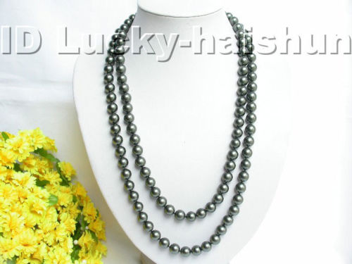 Selling Jewelry>>>Genuine 50 10mm round Tahitian black sea shell pearls necklace j3452