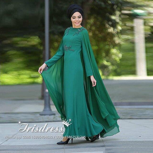 16f8a1db3d L39ivresse 2017 Evening Dresses Muslim Hijab Bead Waist Chiffon