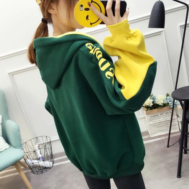 Patchwork Hoodie Pullover Woman Long Sleeve Hooded Sweatshirt 2019 Kpop Autumn Harajuku Tracksuit Sudaderas Mujer streetwear 32