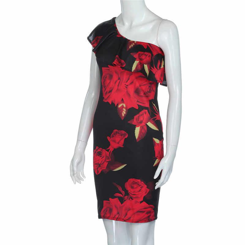 Damska letnia sukienka czerwona czeska na co dzień nadruk róży Off ramię koktajlowa krótka sukienka plażowa Vestidos Dropship J #21