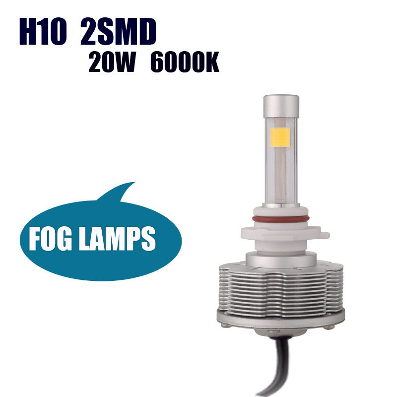 High Power Auto H10 LED Car Bulbs Source Light  Fog Lamps H10 Led Conversion Kit 6000K 20W 2400LM white Lights