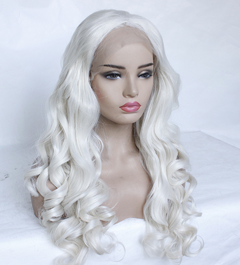 Fashion Platinum Blonde Synthetic Lace Front Wigs Heat Resistant Long Loose Body Wave White Blonde Wigs Cosplay for White Women-13
