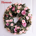 High Quality Simulation Floral Door Wreath Artificial Rose Rattan Garland for Home Wall Garden Wedding Party Decoration Wreaths