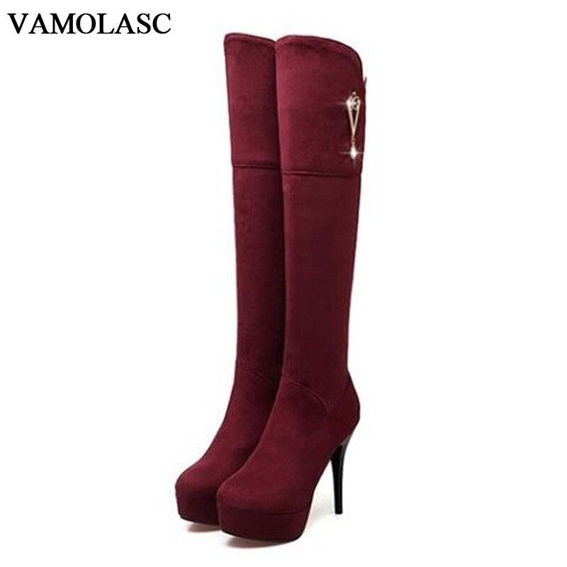 VAMOLASC New font b Women b font Autumn Winter Faux Suede Over the Knee Boots Zipper