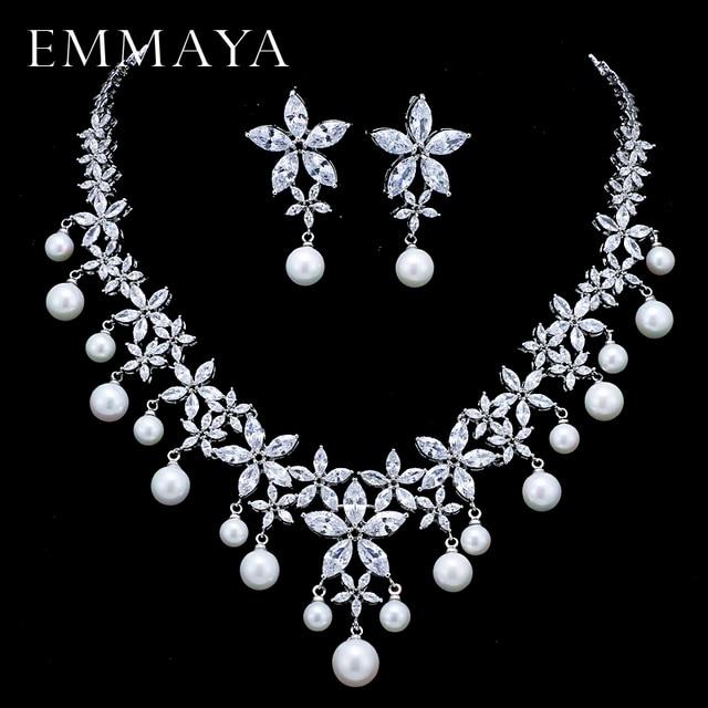 EMMAYA Inci Kostüm Kadınlar Takı Setleri Beyaz CZ Küpe/Kolye Kolye Lüks Gelin düğün takısı