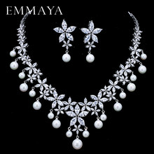 EMMAYA Pearl Costume Women Jewelry Sets White CZ Earrings/Pendant Necklace Luxury Bridal Wedding Jewelry(China)