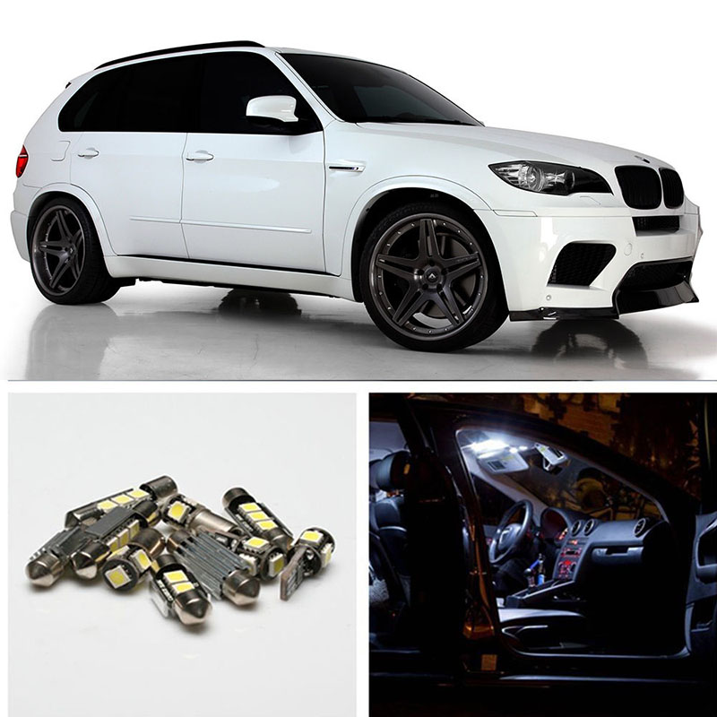 25Pcs/Set Car Interior Dome Map White LED Light Bulb Kit Auto Door Mirror Trunk Glove Lights For BMW X5 E70 M 2007 - 2013 cawanerl car 5630 smd led kit package white interior led lamp dome map trunk license plate light for toyota corolla 2000 2012