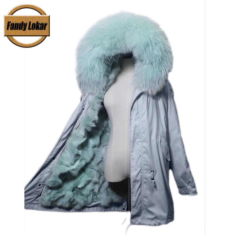 Real Fox Fur Lining Parkas Women Winter Jacket Genuine Raccoon Fur Collar Hooded Coat Woman Warm Fur Parka Female Ladies Jackets printed long raccoon fur collar coat women winter real rabbit fur liner hooded jacket women bomber parka female ladies fp896