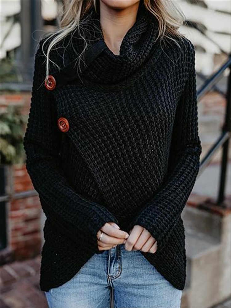 Для женщин S свитеры для 2018 Зимняя мода женский Топ harajuku вязаный свитер плюс размеры водолазка зимняя одежда Рождество