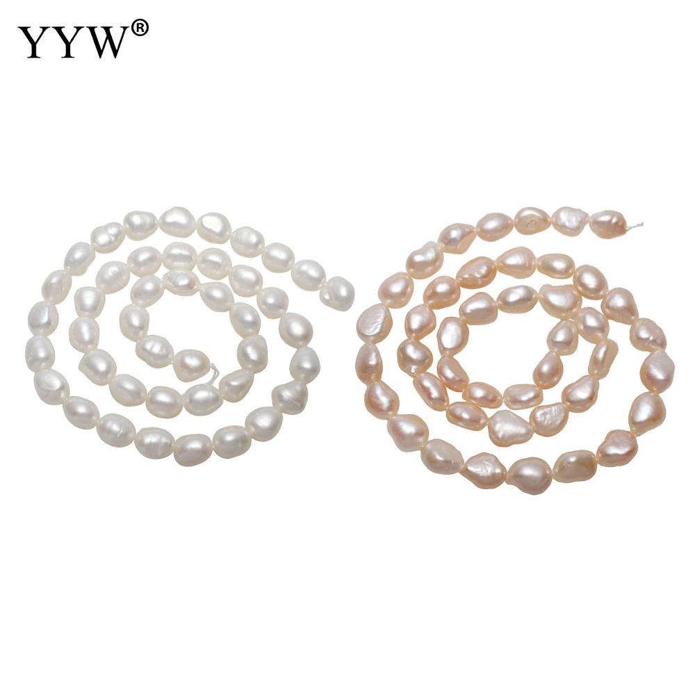 Cultured Baroque Freshwater Pearl Beads natural 8-9mm Approx 0.8mm 15.5 Inch Strand for Handmade Birthday Jewelry Making