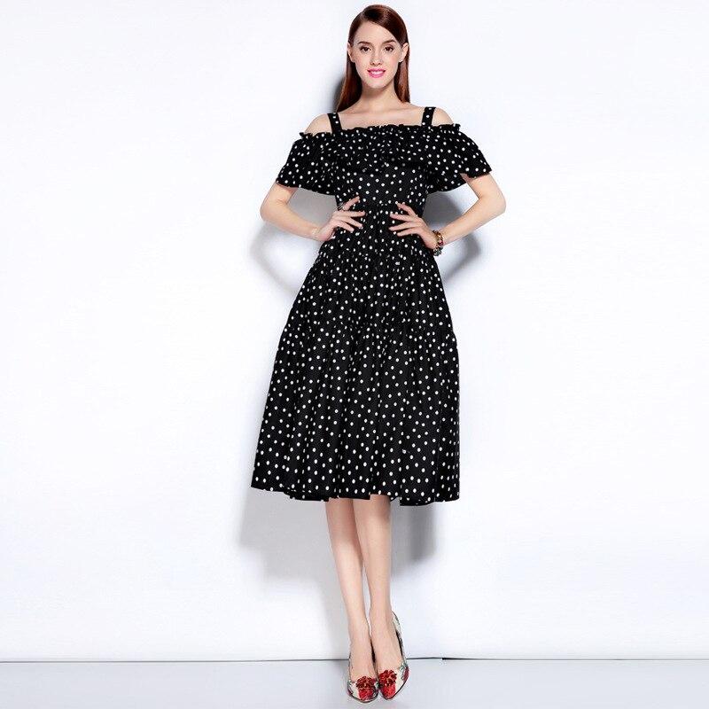Haute qualité 2017 été nouveau Style mignon Spaghetti sangle Slash cou Dot imprimer recueillir taille genou extension robe femmes
